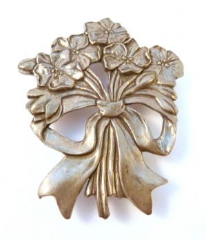 Vintage Pewter Floral Posy Brooch By Seagull.